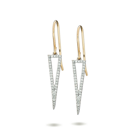 Adina Reyter Long Open Pave Triangle Earrings