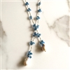 Mela Blue Czech Crystals White Baroque Pearls Necklace
