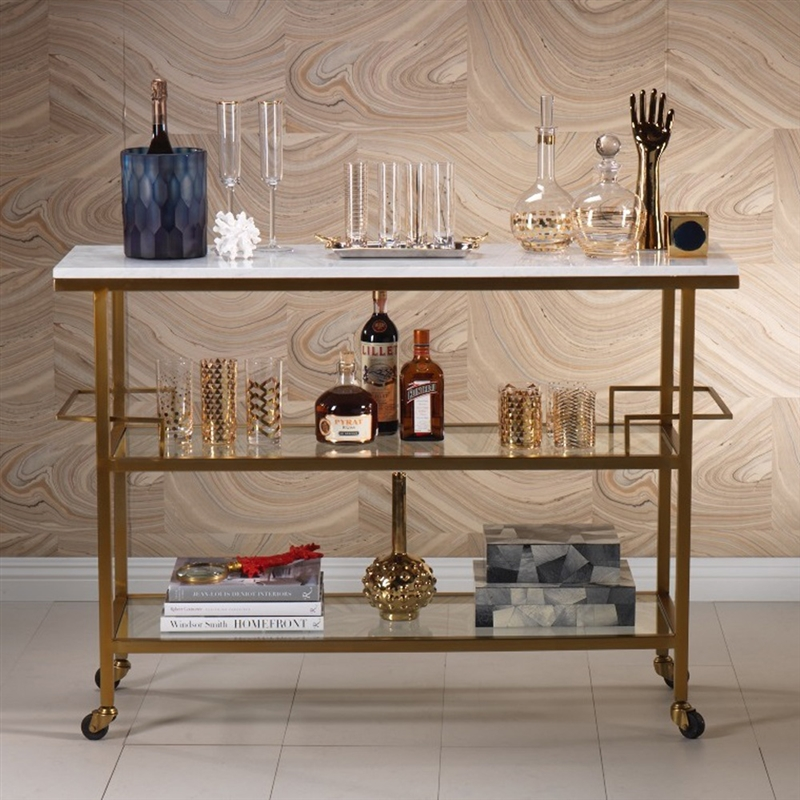 Exceptionnel Zodax Porto Servo Metal Bar With Makrana Albeta Marble Top