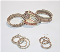 Spiral Bracelets & Earrings - Antique Rose