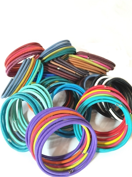 Spiral Color Block Bracelets-