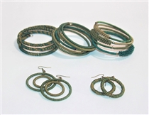 Spiral Bracelets & Earrings - Green Tile