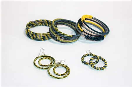 Spiral Bracelets & Earrings -Indigo Lemon