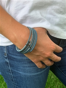 <!002>Spiral Bracelet Striped - Blues