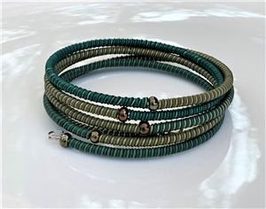 <!001>Spiral Bracelet Striped - Green tile