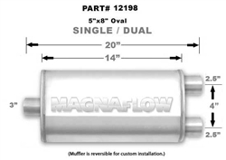 "Magnaflow 5x8 Singe 3"" In/Dual 2.5"" Out 14"" Stainless Muffler"
