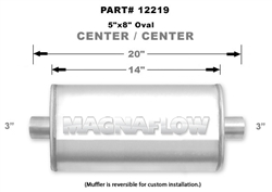 "Magnaflow 5x8 Singe 3"" In/Single 3"" Out 14"" Stainless Muffler"