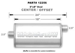 "Magnaflow 5x8 Singe 2.5"" Center In/Single 2.5"" Offset Out 18"" Stainless Steel Muffler"