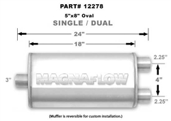 "Magnaflow 5x8 Singe 3"" In/Dual 2.25"" Out 18"" Stainless Muffler"