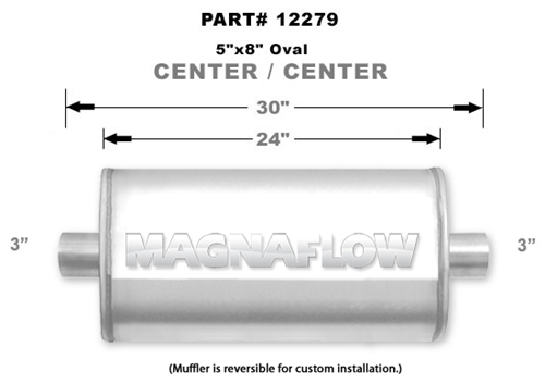 """3/"""" Satin Finish 5/"""" x 8/"""" Oval Muffler Center In//Center Out Magnaflow 12279"""