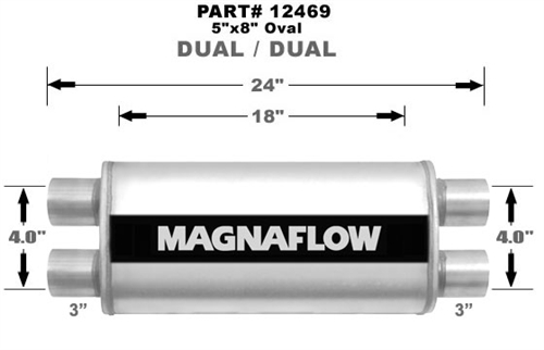 """18/""""Body 3/"""" Size 24/"""" Length Magnaflow 12469 5/""""x8/"""" Oval Muffler 3/"""" Dual In//Out"""