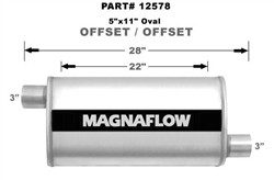 "Magnaflow 5x11 Singe 3"" In/Single 3"" Out 22"" Stainless Muffler Offset/Offset"