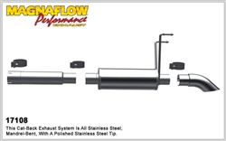 "Magnaflow Catback Exhaust 2009-2016 Dodge Ram Ram 1500 Off-Road Pro Series catback exhaust system with 14"" muffler and dumped exit before rear axle"