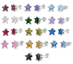 7x7MM Star CZ Stamping Stud Earrings