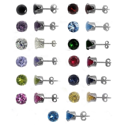 8mm Round CZ Stamping Stud Earrings