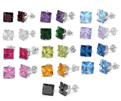 9x9mm Square CZ Stamping Stud Earrings