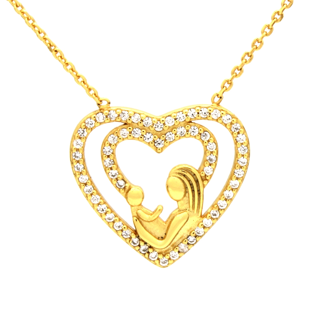 CZNK01-G Sterling Silver CZ Mother Child Necklace - Gold Plated