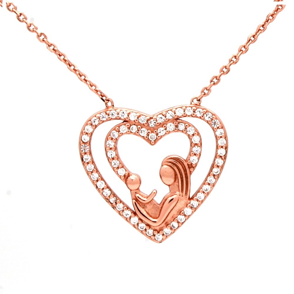 CZNK01-R Sterling Silver CZ Mother Child Necklace - Rosegold Plated