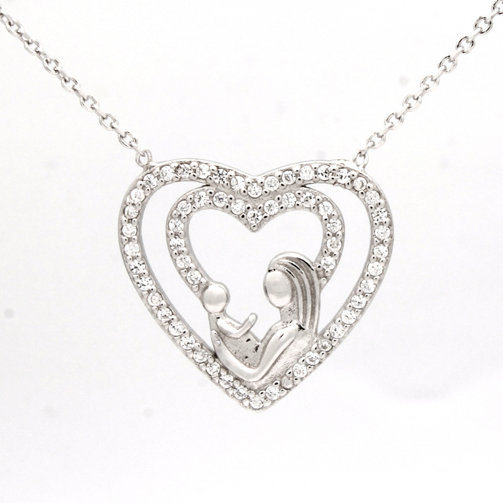 CZNK01-S Sterling Silver CZ Mother Child Necklace