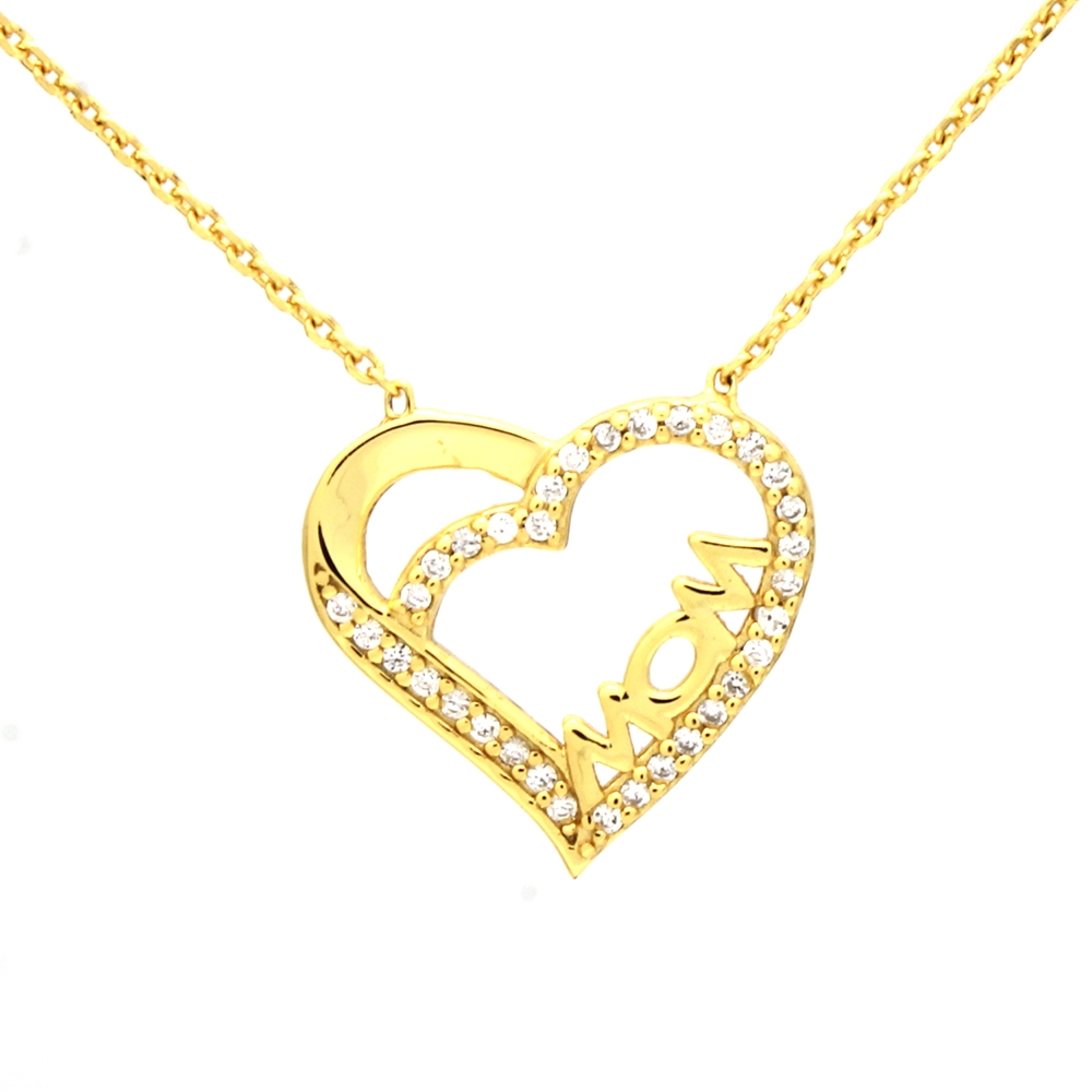 CZNK02-G Sterling Silver CZ MOM Necklace Gold Plated