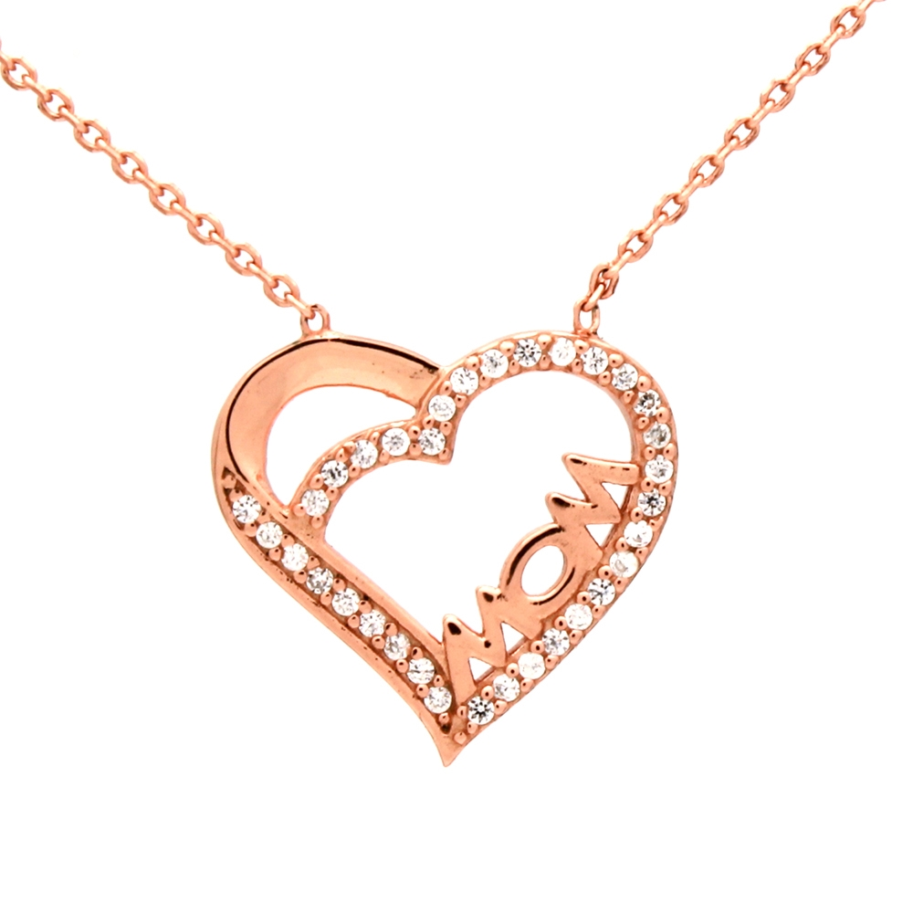 CZNK02-R Sterling Silver CZ MOM Necklace Rosegold Plated