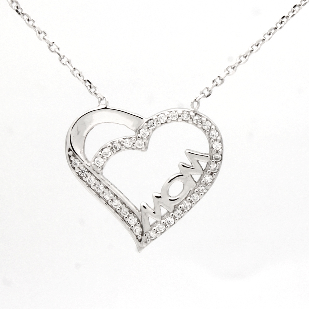 CZNK02-S Sterling Silver CZ MOM Necklace