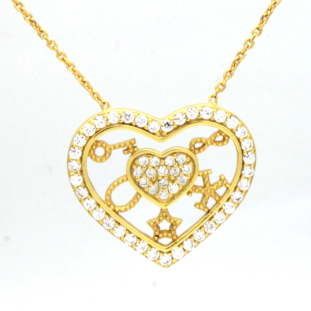 CZNK03-G Sterling Silver CZ Goodluck Necklace Gold Plated