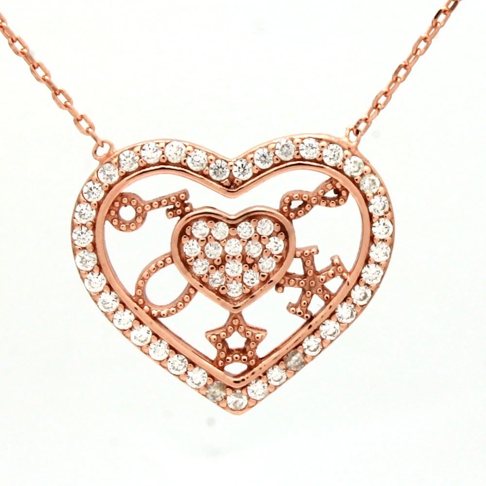 CZNK03-R Sterling Silver CZ Goodluck Necklace Rosegold Plated