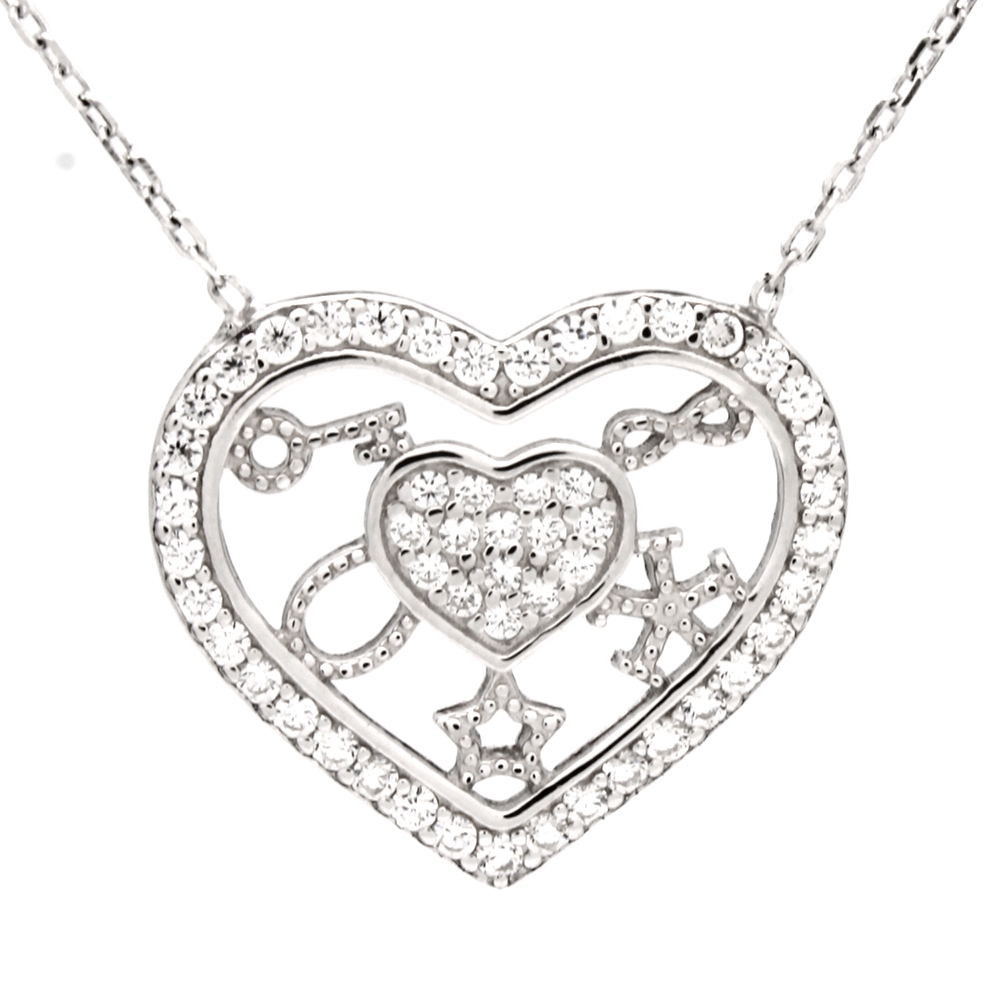 CZNK03-S Sterling Silver CZ Goodluck Necklace