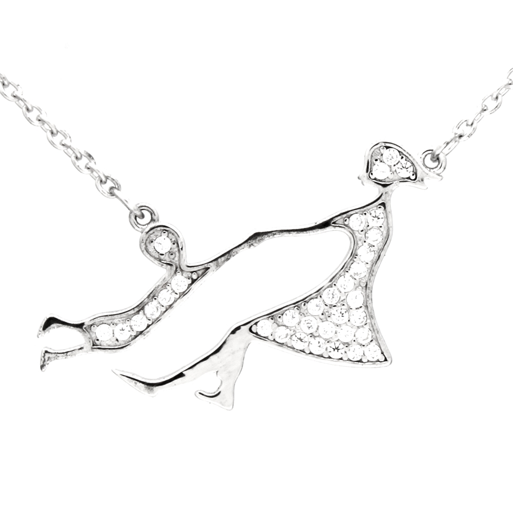CZNK05-S Sterling Silver CZ Mother Child Necklace