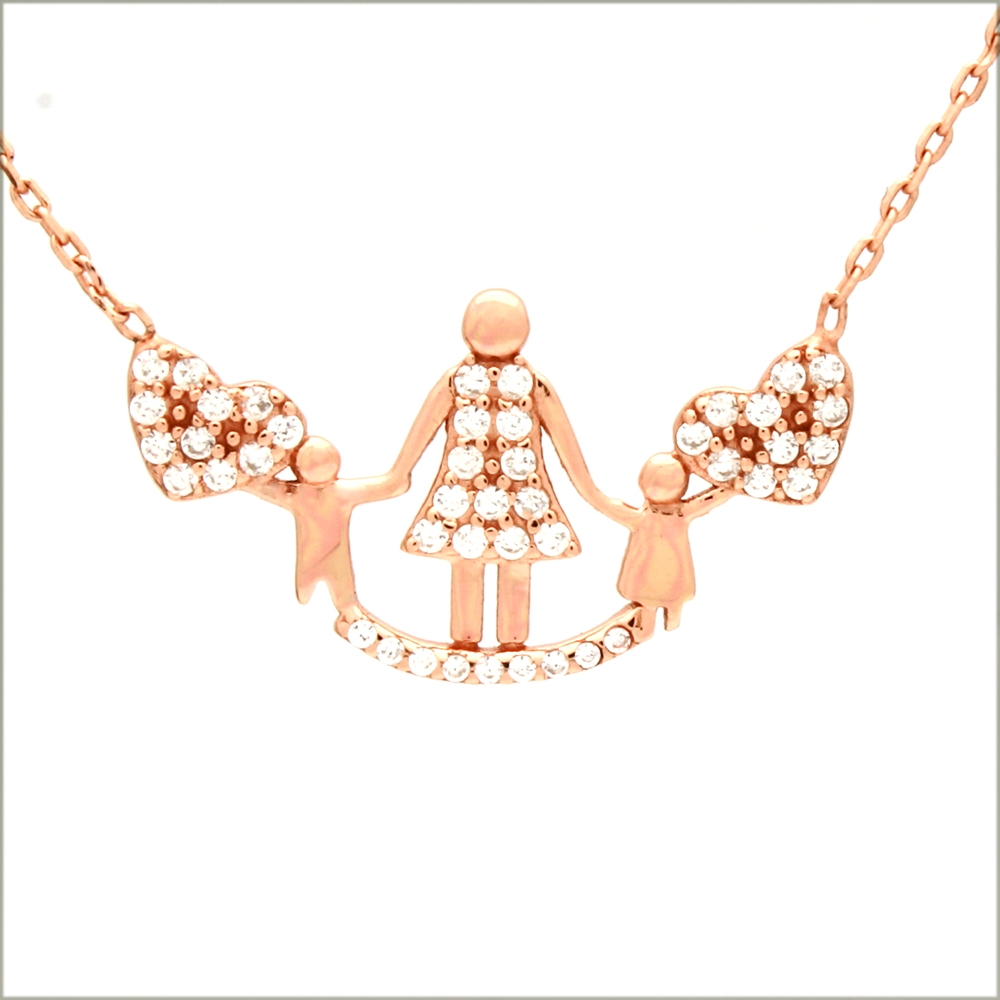 CZNK06-R Sterling Silver CZ Mother 2 Children Necklace Rosegold