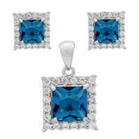 CZSS1001-BT Sterling Silver Blue Topaz CZ Square Pendant Earrings Set