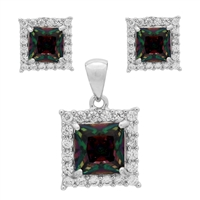 CZSS1001-MY Sterling Silver Rainbow CZ Square Pendant Earrings Set