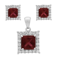 CZSS1001-RU Sterling Silver Red Ruby CZ Square Pendant Earrings Set