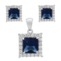 CZSS1001-SA Sterling Silver Blue Sapphire CZ Square Pendant Earrings Set