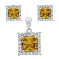 CZSS1001-YL Sterling Silver Yellow CZ Square Pendant Earrings Set
