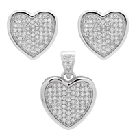 CZSS1002 Sterling Silver Micropave Hearts Pendant Earrings Set