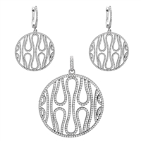 CZSS1003 Sterling Silver Micropave Wavy Pattern Pendant Earrings Set