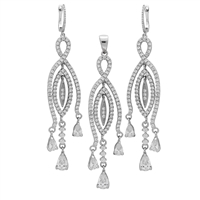 CZSS1004-CL Sterling Silver Micropave Teardrop Clear CZ Long Earrings Pendant Set