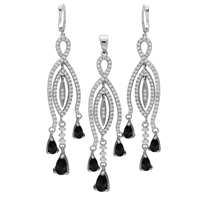 CZSS1004-MY Sterling Silver Micropave Teardrop Mystic Rainbow CZ Long Earrings Pendant Set