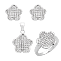 CZSS1005 Sterling Silver Micropave CZ Fleur Clover Complete Set