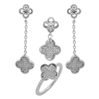 CZSS1006 Sterling Silver Long Micropave CZ Fleur Clover Complete Set