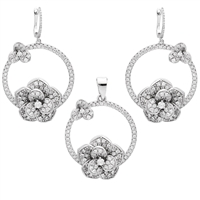 CZSS1007 Sterling Silver Circle Flower Micropave Earrings Pendant Set