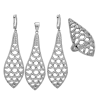 CZSS1008 Sterling Silver Long Bee Hive Complete Micropave Set