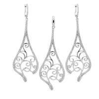 CZSS1009 Sterling Silver Long Elegant design Teardrop Shape Micropave CZ Set
