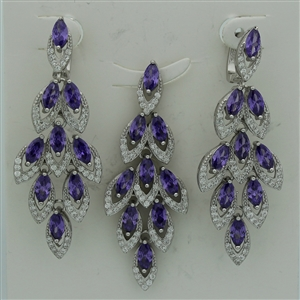 CZSS1012-AM Sterling Silver Marquis Purple Amethyst CZ Sets
