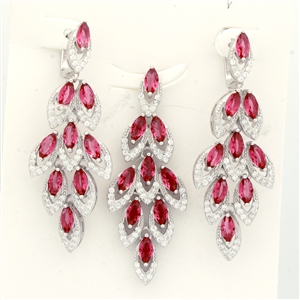 CZSS1012-RU Sterling Silver Marquis Red Ruby CZ Sets