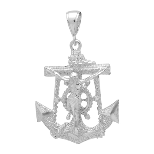 Sterling silver anchor jesus pendant dcp1071 silver dc anchor w jesus pendant 45mm aloadofball Image collections