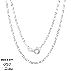 Figaro 030 1mm Gauge Chain Necklace