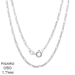 Figaro 050 1.7mm Gauge Chain Necklace